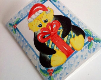 Penguins Present card, A present for Penguin, Penguin Christmas card,Penguin Seasonal card, Penguin Holiday Card