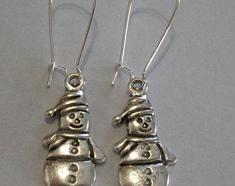 Cute Antique Silver Snowman Earrings