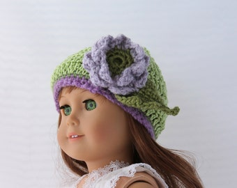 Handmade Crochet Doll Hat  Fits 18 inch Doll Green Hat with Lavender and Purple Flower