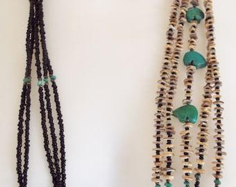 "Vintage Native Southwest Tribal 5 Strand Black Seed Bead Heishi Shell Beaded Turquoise Fetish Bear 31"" Necklace"