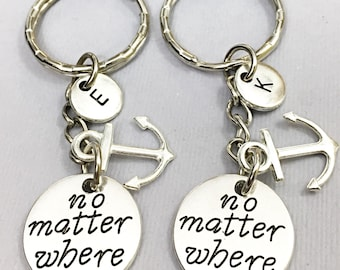 SALE,Set of 2,Long Distance Gift, No Matter Where, Initial Keychain, Engraved Keychains, Best Friend For 2, Distance Relationship,Keychain,