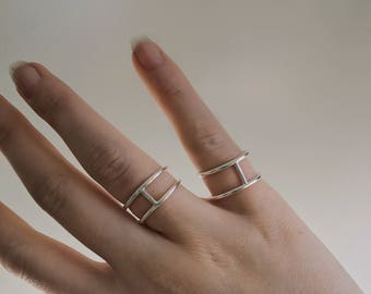 Cage ring | bar ring | double band ring