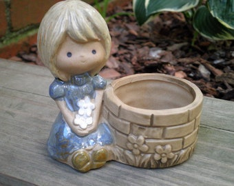 Vintage Kawaii Girl Retro Kitsch Ring Dish Trinket Holder Jewelry Storage Container - 1970s Holly Hobbie Style Ring Dish Gift Made in Japan