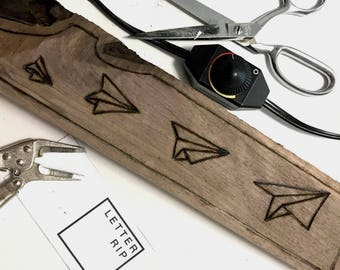 Handcrafted Geometric Paper Planes Origami Modern, Minimal, Wood Burning Home Decor