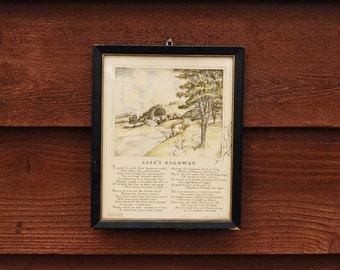 Buzza Motto Art,  Antique Life's Highway Motto Art, Cottage Art