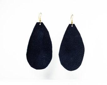 Leather Raindrop Earrings - Large - Black