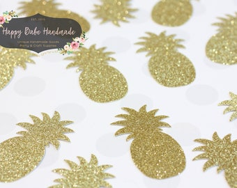 Pineapple Confetti, Pineapple Die Cut, Bridal Shower, 25 Gold Pineapples, Luau Party, Tropical Party Decor, Hawaiian Party, Beach Party
