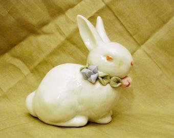 "Miniature Porcelain Bunny with Pastel Flower Accents 3.6"" X 3.5"" X 2.0"""