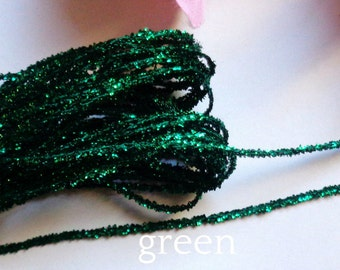 metallic string ribbon 1/8 inch wide green color price for 4 yard