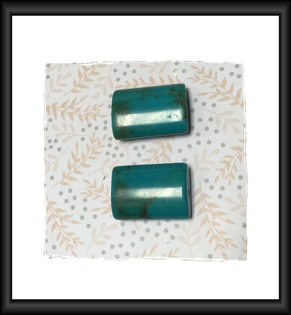 Turquoise Green Blue Pillow Semi-Precious Stone Beads / Pendants 25 x 17 mm Two Beads