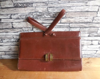 Vintage French brown leather handbag
