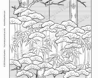 "Japanese Blossoms ""Bonsai Branches Bamboo Layered Design"" Adult coloring page printable download from Artwork Anywhere ~hand drawn pattern~"