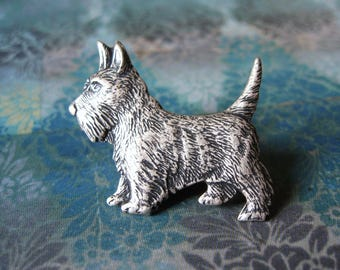 Scottie - Antiqued Silver Plated Highland Terrier Brooch, Lapel Pin or Tie Pin Tie Tack with Gift Box