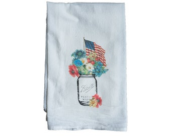 Flour Sack Towel | Floral Patriotic Mason Jar | Gifts under 10