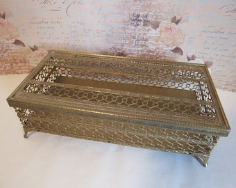 Vintage Hollywood  Glam Footed Filigree Gold Metal Tissue Box Cover Holder Bathroom Vanity Decor