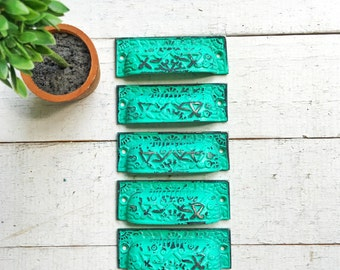 Rustic Cast Iron Distressed Cup Handle -Drawer Pulls In Ocean Teal Turquoise- Cabinet Knob- Dresser-Home Decor-Dresser Hardware-SET OF 2