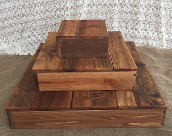 Rustic Wood Cupcake Stand, tiered, wedding party decoration, dessert table display, cup cake, wooden, appetizer display