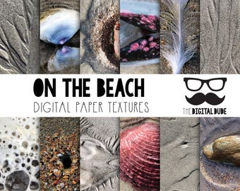Premium Digital Paper Set, On the Beach, Beach Textures, Digital Textured Paper, Scrapbook Paper, Digital Texture, Instant Download