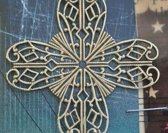 Brass Filigree Cross Stone Wrap, Brass Ox, Filigrees Made in the USA