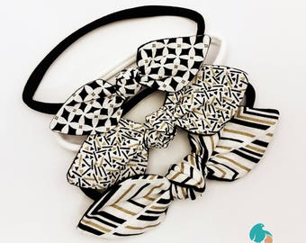 Knotted Bow Headbands, Fabric Bow Headband Set, Fabric Bow on Nylon Headband, Top Knot Headband Set, Girls Fabric Hair Bows, Girls Gift Idea