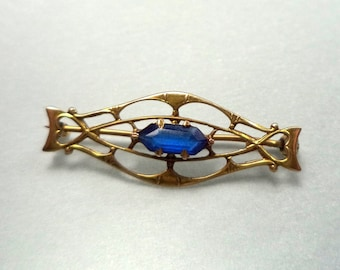 10K Brooch Simulated Blue Sapphire Signed