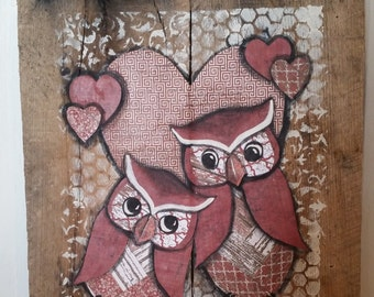 Two owls in love,  pallet mixed media art, heart