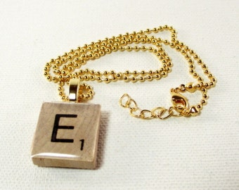 Wood Letter Tile Necklace -  Initial Tile Necklace  - You Pick Letter - 18 Inch Gold Chain - Personalized Jewelry