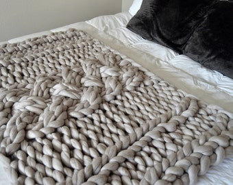"""Gray Merino Wool Throw Blanket,  """"Why Knot"""" """"Why Knot"""""""