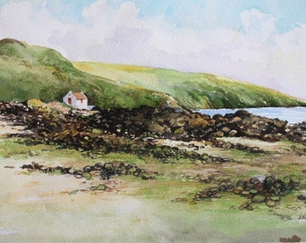 The Fisherman's Retreat, Isle of Man - Original Watercolour Painting - Seascapes - Coasts - Boats - Fine Art