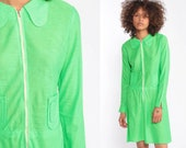 60s Mod Mini Dress Lime Green Space Age Dress 1960s Scooter Dress Neon Shift Vintage FRONT ZIP Up Plain Sixties Minidress Gogo Extra Small