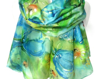 Tulips Hand Painted Silk Scarf. Birthday Gift. Green Blue Floral Woman Shawl. Silk Painting. Genuine Art on Silk. 18x71in MADE to ORDER