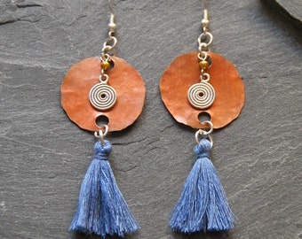 Blue tassel earrings, Ethnic earrings, Hammered copper long earrings with a cornflower blue tassel and a spiral charm, 1131-1