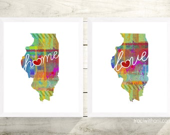 Illinois Love & Home: Instant Digital Download Watercolor Style Wall Art Print