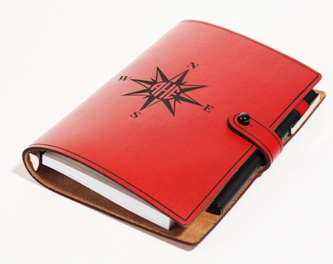 LEATHER JOURNAL - Compass Rose Monogram Journal - Personalized Journals