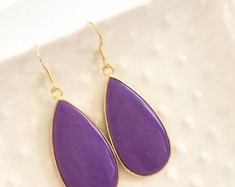 Rich Purple Stone Earrings Set in Gold