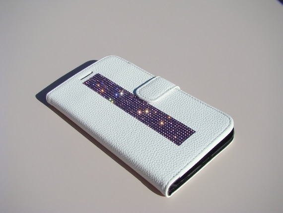iPhone 6 Plus Wallet Case / iPhone 6s Plus Wallet , Purple Amethyst Diamond  Crystals White Wallet Case. Velvet/Silk Pouch bag Included, .