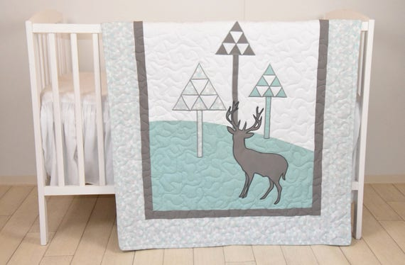Mint Deer  Baby Boy Blanket, woodsy pine trees quilt, gray mint green white crib bedding, hunter bed coverle