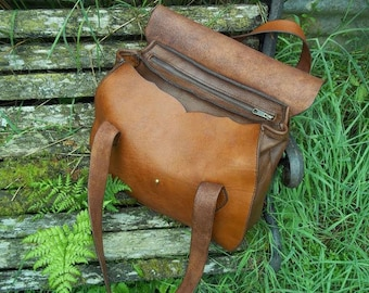 The 'Thomasin' chestnut leather shoulder bag. Hand-stitched, lovingly hand-crafted.