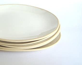 "10"" White Stoneware Plates, Ceramic, Set of 6 dinner plates,  White pottery dinnerware plate, Handmade Plates, Made to order"