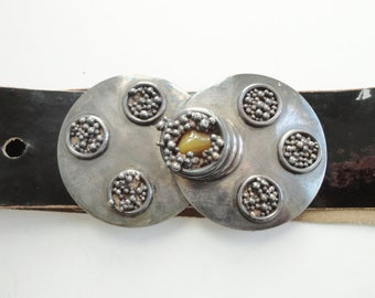 Black 70s Vintage Leather Belt // Big Silver Buckle With Yellow Stone