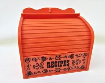 Vintage Roll Top Recipe Box | Recipe Holder | Plastic Roll Top Desk | Orange Kitchenware | Kitchen Storage | Recipe Storage