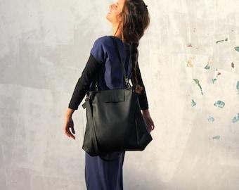 Schwarze Leder-Einkaufstasche, italienischen ledereinkaufstasche, handgemachte Tasche, Leder-Laptop-Tasche, Schultertasche aus Leder, große Ledertasche, Übergröße