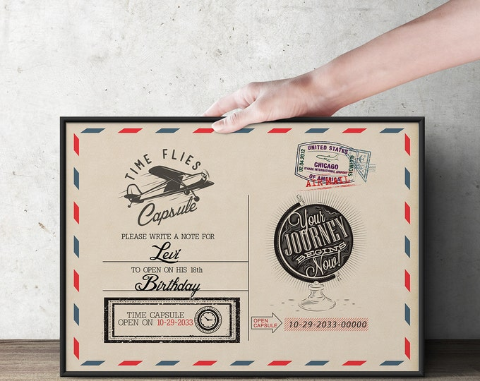 Post card, table sign, Time Capsule, Precious Cargo, Oh The Places You Will Go  •  Baby Shower, vintage airplane, Birthday