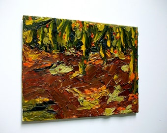 """Autumn Woods (ORIGINAL OIL PAINTING) 9"""" x 7"""" by Mike Kraus"""