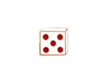 Red and White Dice Lapel Pin