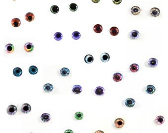Wholesale Bulk Glass Eye Cabochons 20 Sets of 6mm Human Doll Glass Eyes for Doll or Jewelry Making