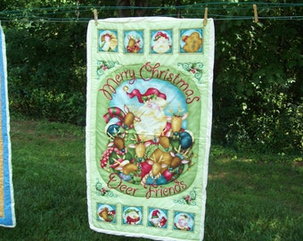 "SALE! Lap Quilt - Wall Hanging Quilt - Christmas Quilt - Deer Quilt - Merry Christmas Deer Friends Quilt - 24"" X 43"""