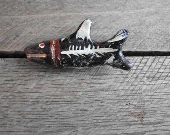 Silly Shark Brooch - Handmade Fish Pin