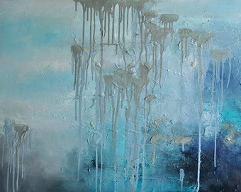 "Original Abstract Painting  Large Textured Oil Painting Neutral Grey Blue Landscape UNSTRETCHED Rolled in a Tube 32""x24"""