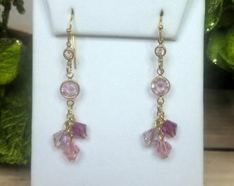 Swarovski Crystal Pink Drop Earrings